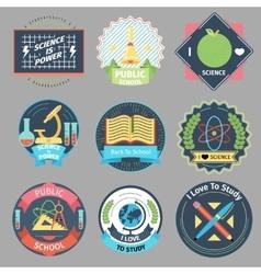 Color vintage school emblems set vector image