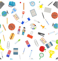different school objects in good seamless pattern vector image vector image