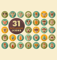 farm animals flat icons set head vector image vector image