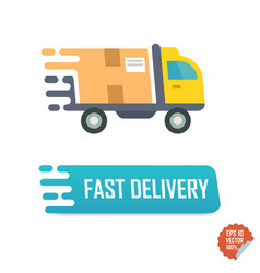 Fast delivery button with truck fast delivery vector