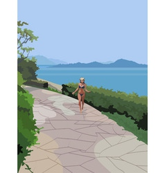 Girl in a swimsuit on the coast vector image vector image