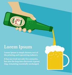 Hand holding bottle pouring beer into mug vector