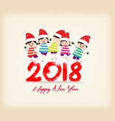 happy new year 2018 with kids funny vector image vector image