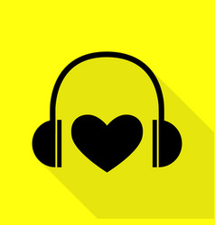 headphones with heart black icon with flat style vector image vector image