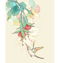 Humming-bird and flowering branch vector image