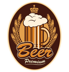 label with a glass of beer vector image