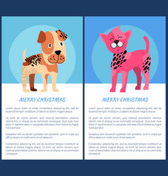 Merry christmas posters with adorable puppies vector