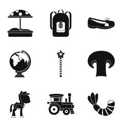Nursery school icons set simple style vector