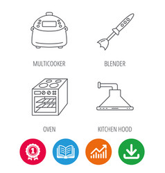 Oven kitchen hood and blender icons vector