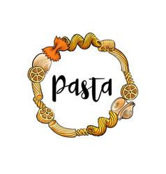 Round frame of uncooked italian pasta with place vector