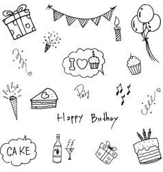 Set doodle birthday party vector image vector image