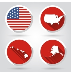 Set of USA country shape with flag vector image vector image