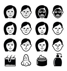 Skin problems - acne spots treatment icons set vector