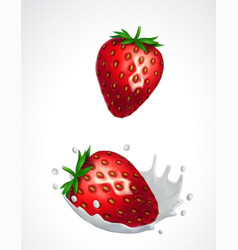 Strawberries and milk splash vector