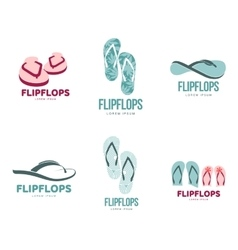 Stylized black and white rubber flip flops logo vector