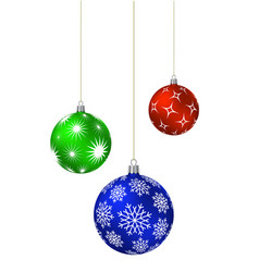 three christmas balls with different patterns vector image vector image