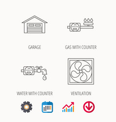 Ventilation garage and water counter icons vector