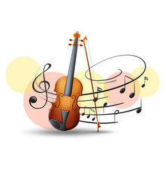 Violin with music notes in background vector