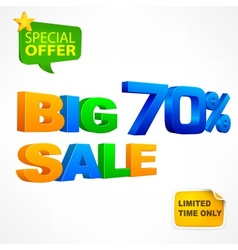 Big sale inscription 70 vector