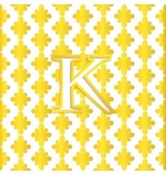 Golden letter K on Golden pattern logo vector image