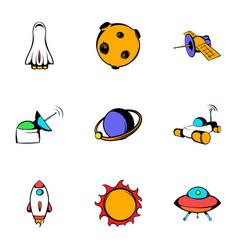 galaxy icons set cartoon style vector image