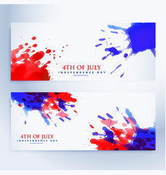 4th of july banners with ink splashes vector