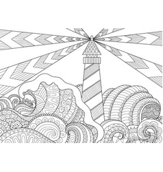 seascape line art design vector image