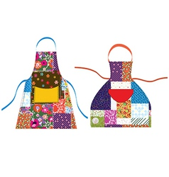 Aprons with patchwork design textile vector
