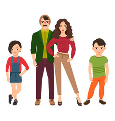 Happy family in casual style vector