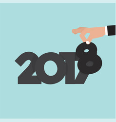 Hand changing 2017 to 2018 vector