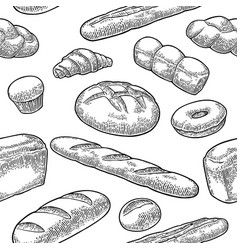 seamless pattern for bakery black hand vector image
