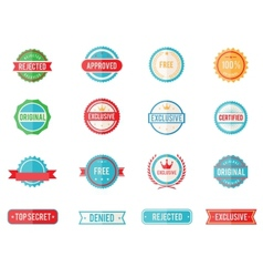 Set of colored emblems and stamps vector image