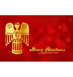 Christmas red background with angel vector