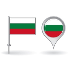 Bulgarian pin icon and map pointer flag vector