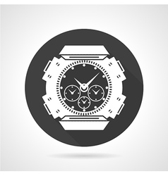 Black round icon for sport wrist watch vector