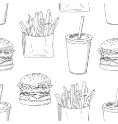 Seamless pattern with sketched burger french vector