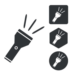 Flashlight icon set monochrome vector