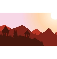 Silhouette of home on the mountain vector image