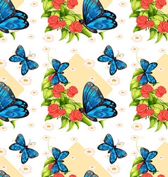 Seamless blue butterflies and roses vector image