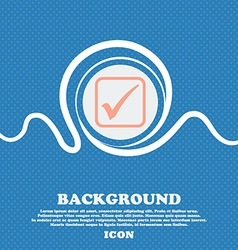 A check mark sign icon blue and white abstract vector