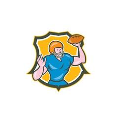 American football qb throwing shield retro vector