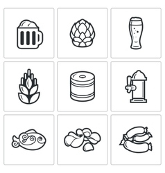 Beer and appetizer icons vector image vector image