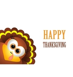 Card for Thanksgiving Day with turkey on white vector image vector image
