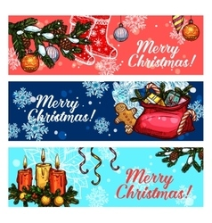 Christmas and new year festive banner set vector