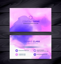 Colorful watercolor ink style business card vector