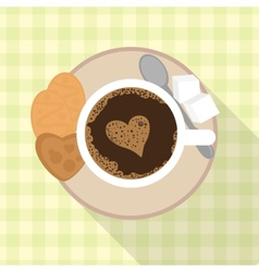 Cup of coffee with cookies and sugar vector image
