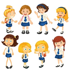 Eight schoolgirls in their uniforms vector image vector image
