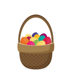 Flat eggs in wicker basket vector