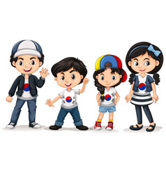 Four kids from south korea vector