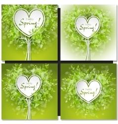 Fresh spring green grass leaves frame vector image